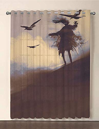 iPrint One Panel Extra Wide Sheer Voile Patio Door Curtain,Horror Decor,Dark Soul from a Scary Movie Film on The Hills with Clouds and Flying Crows Print,Black,for Sliding Doors(108