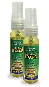 Smoke Smell Be-Gone! Smoke & Odors Eliminator for Home, Office & Car. Natural Non-Aerosol Air Freshener 1.1oz (33ml), Lemon Scent (Pack of 2)