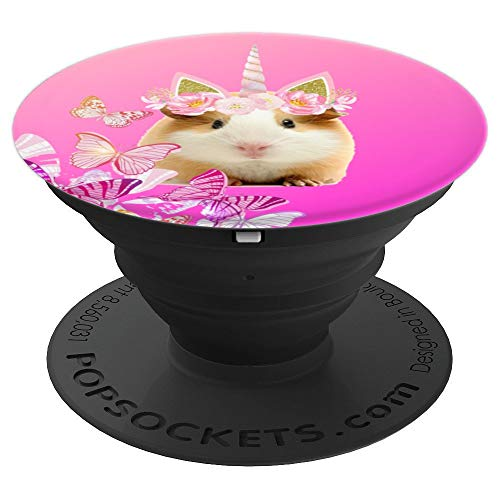 Unipig Unicorn Guinea Pig & Pink Butterflies Design - PopSockets Grip and Stand for Phones and Tablets ()