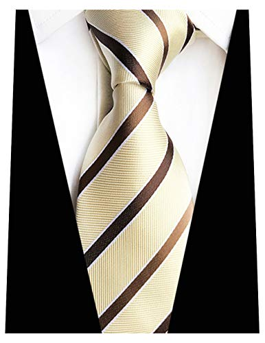 MENDENG New Mens Stripe Paisley 100% Silk Necktie Classic Striped Formal Ties (One Size, Champagne and Brown)