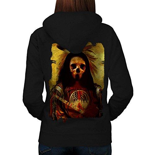 [Skull Indian Soldier Costume Women NEW Black L Hoodie Back | Wellcoda] (Mayan Warrior Costumes)