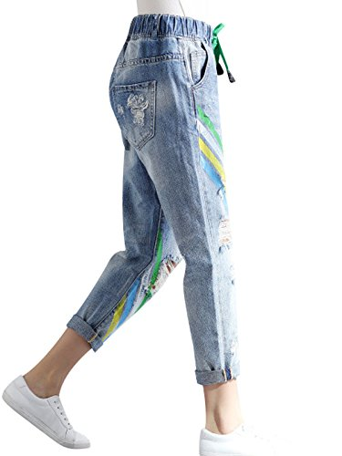 Primavera Elastica Vita Pantaloni Donna In Estate Bigassets Stampati Jeans 8qpBEHwwx