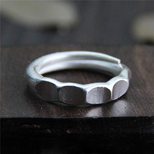 Weiwei Men Ring Rings S999 Sterling Silver Thai Chiangmai Manual Geometry Male and Female Couple Ring