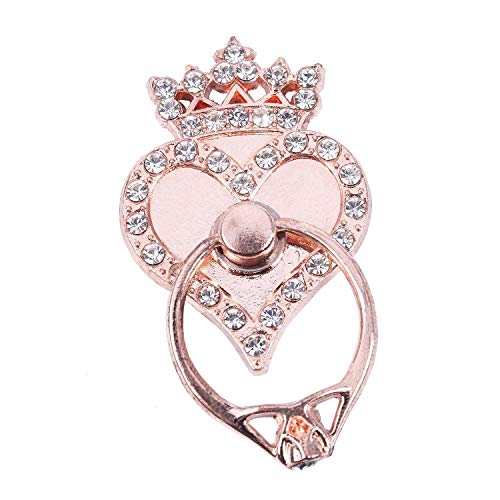 (TOOGOO(R) Crown Heart Car Universal Fashion Holder Stand Finger Ring Mount rose gold)
