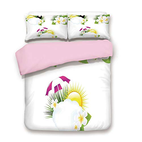 iPrint Pink Duvet Cover Set,Twin Size,Different Type of Small Fishes Collection Cute Group of Sea Creatures Flow Sign,Decorative 3 Piece Bedding Set with 2 Pillow Sham,Best Gift for Girls Women,Multi