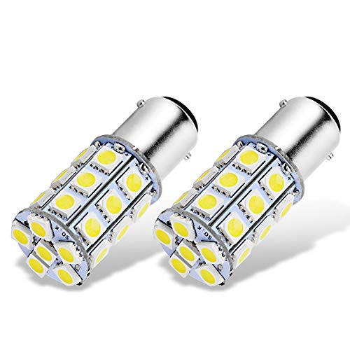 (YITAMOTOR BA15D 5050 27-SMD LED Super White Car Marine Boat RV Camper Light 1142 1076 (Pack of 2))