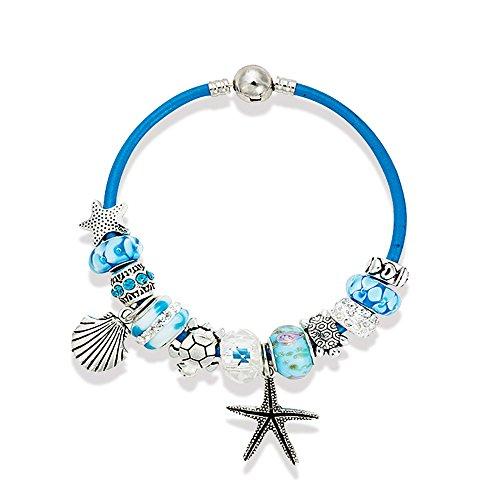 [Charm Bracelet 7.5 Inch for Women Teen Girls Sea Beach Star Fish Turtle Dangle Blue Beaded Wrist] (Toddler Annie Costumes)