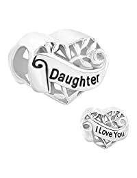 I Love You Daughter Sterling Silver Heart Family Charms Sale Cheap Jewelry Bead fit Pandora Bracelet