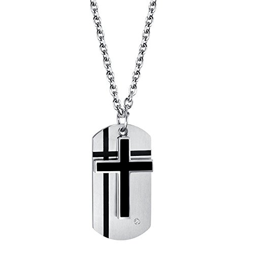 Men's Stainless Steel Cross Necklace Silver Black Two-tone Crucifix ID Dog Tag and Cross - Tone Dog Two Tag