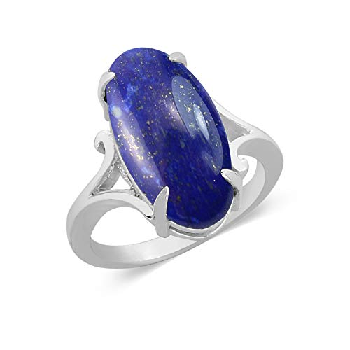 (9.10ctw, Genuine Lapis Oval & .925 Silver Overlay Solitaire Ring Size-10)