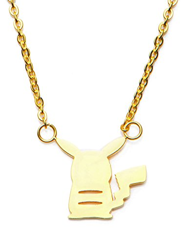 Pokemon-Womens-Stainless-Steel-Gold-PVD-Plated-Pikachu-Pendant-with-Chain