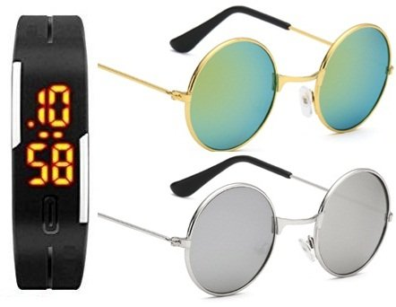 SUNGLASSES BEST GIFT SETS COMBO OF SILVER FRAME SILVER MERCURY ...