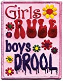 "3.25"" Pink""girls Rule Boys Drool"" Name & Slogan Patch"