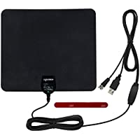 Leadsign Indoor HDTV Antenna - 50 Mile Range Digital TV Antennas with Built-in Amplifier USB Power Supply and 16.5 Feet High Performance Coax Cable