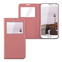 kwmobile Practical and chic FLIP COVER case with window and synthetic leather for Samsung Galaxy S5 / S5 Neo / S5 LTE+ / S5 Duos in antique pink