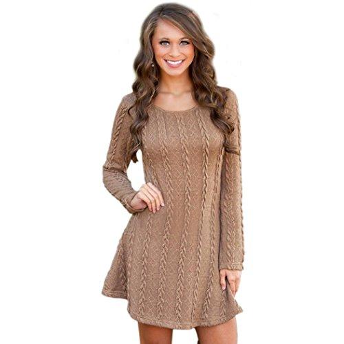 Aelove Women Sweet Casual O-Neck Long Sleeve Knitting Dress Solid Mini Dress Dresses