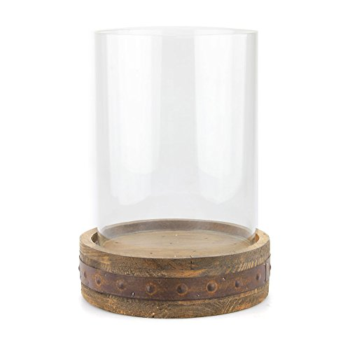 Stonebriar Industrial Wood Pillar Candle Holder with Rust Trim and Removable Glass Hurricane, Decorative Rustic Design for Wedding Decorations, Parties, or Everyday Home Decor, Large - Glass Wood Candle