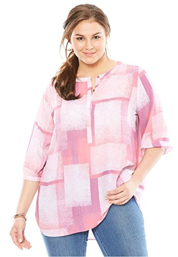Tonal Plaid Shirt (Woman Within Women's Plus Size Pleat-Back Mandarin Blouse Berry Orchid Tonal Plaid,3X)