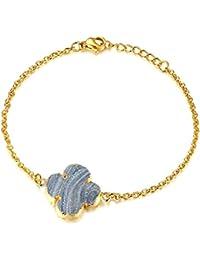 Minimalist Handmade Natural Agate Druzy Charm Bracelet, Delicate Jewelry for Girls Women
