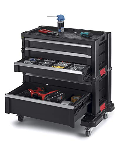 Keter 240762 5 Drawer Modular Garage & Tool Organizer, Black