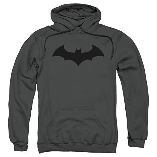 Batman Hoodie Mask (Batman Bat Hush Logo DC Comics Pull-Over Hoodie Sweatshirt & Stickers (Large))