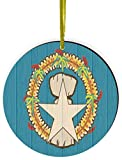 Rikki Knight Northern Mariana Islands Flag on Distressed Wood Design Round Ornament/Car Rear View Mirror Hanger