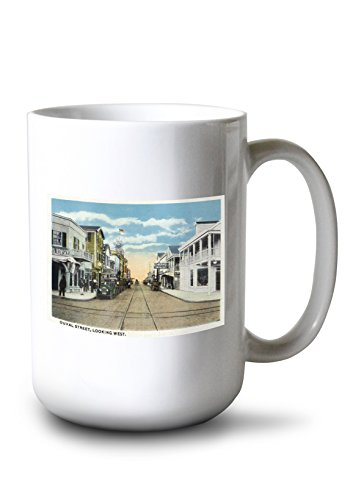 Lantern Press Key West, Florida - Duval Street West Scene - Vintage Halftone (15oz White Ceramic Mug)