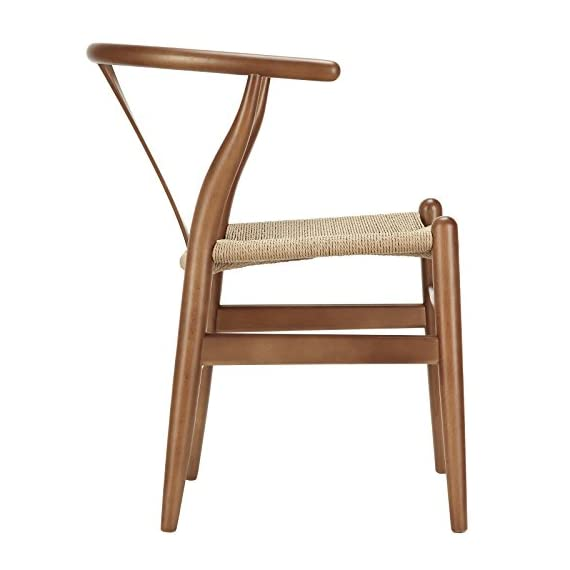 Poly and Bark Weave Modern Wooden Mid-Century Dining Chair, Hemp Seat, Walnut (Set of 2) - Set of 2 wood chairs Solid wood frame 100% natural hemp woven rope cord seat - kitchen-dining-room-furniture, kitchen-dining-room, kitchen-dining-room-chairs - 41yMyiayHnL. SS570  -