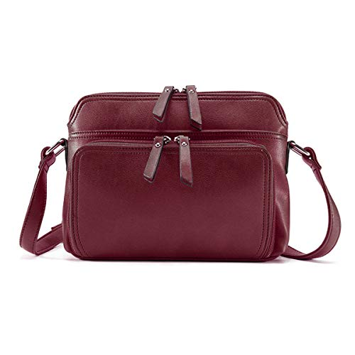 Brenice Women Solid Multi-pockets Casual PU Leather Crossbody Shoulder Bag Red (Crossbody Bag Built In Wallet)