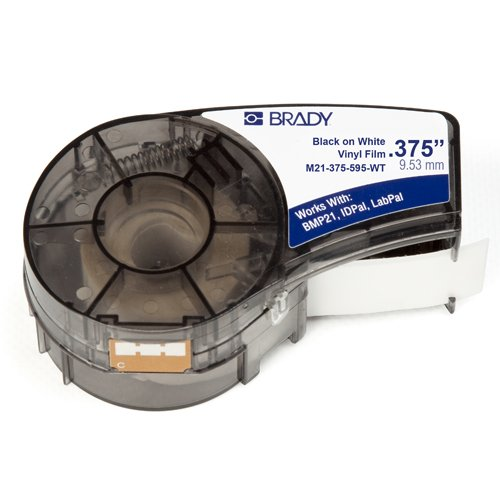 Brady Tape Label (Brady High Adhesion Vinyl Label Tape (M71C-2000-595-WT) - Black on White Vinyl Film - Compatible with BMP21-PLUS, IDPAL, and LABPAL Label Printers - 21' Length, .375