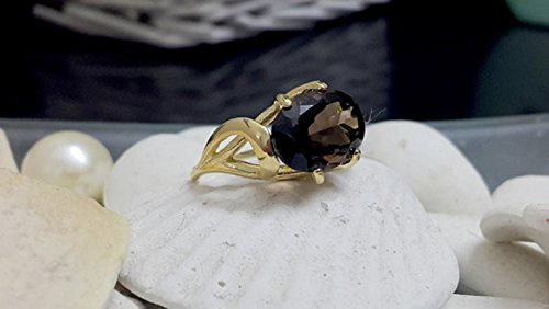 Smoky quartz ring,delicate ring,gold ring,prong round ring,gemstone ring,cocktail brown ring,small ring,gold filled ring