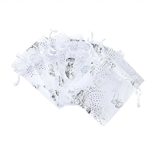 Beadthoven 100pcs Organza Pouch Bags for Christmas Party Gift Favor Bags Drawstring Bag for Wedding Gift Halloween Candy Wrapping Rectangle with Butterfly Pattern White 90x70mm