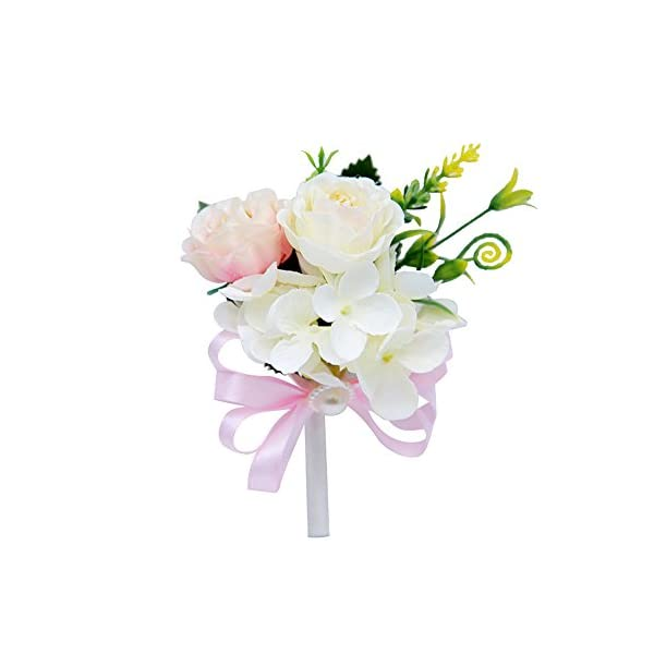 MOJUN Peony Boutonniere for Wedding Flower Brooch Peony Boutineer Wedding Party Prom Homecoming Decor, Pack of 4, Light Pink