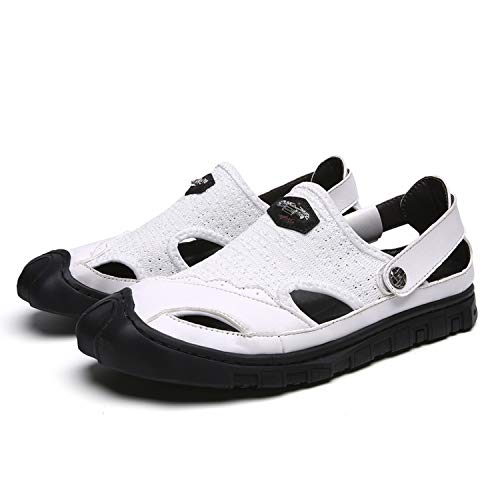 Luxury Shoes Men Sandals Genuine Leather Cowhide Men Sandals Summer Quality Beach Slippers,318White,8.5