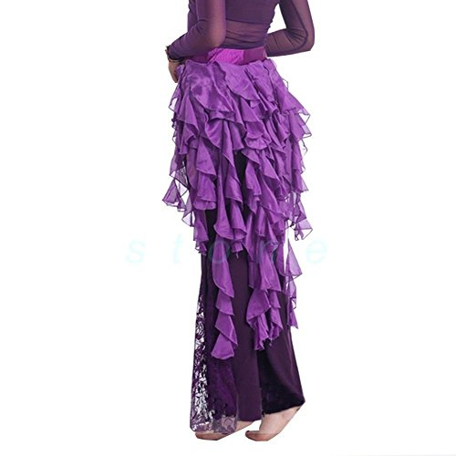 Pilot-trade Women's Belly Dance Hip Scarf Belt Skirt Latin Dance Belt Performance Tassel Wave skirt Purple