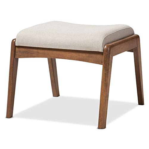 Baxton Studio Roxy Upholstered Ottoman in Light Beige and Walnut