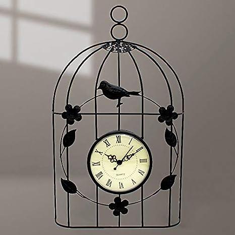 VAWAA Reloj De Pared De Jaula De Pájaro Vintage Estilo Antiguo ...