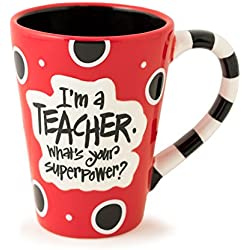 I'm A Teacher, What's Your Super Power? Teacher 12 oz Coffee Mug (Red & Black)