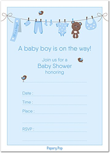 30 Baby Shower Invitations Boy with Envelopes (30 Pack) - Baby Boy Shower Invite Cards - Fits Perfectly with Blue Baby Shower Decorations and Supplies for Boys ()