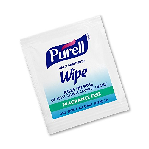 PURELL Hand Sanitizing Alcohol Formula Wipes, Fragrance Free, 300 Count Individually Wrapped Portable Wipes Packets (Pack of 300) - 9020-06-EC