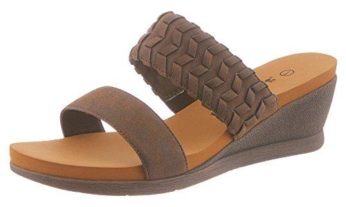Bearpaw Women's Misty Slip-On Wedge Sandal,Dark Brown Synthetic,US 6 M
