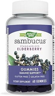 Nature's Way Sambucus Black Elderberry Gummies with Vitamin C and Zinc, 60 Gum