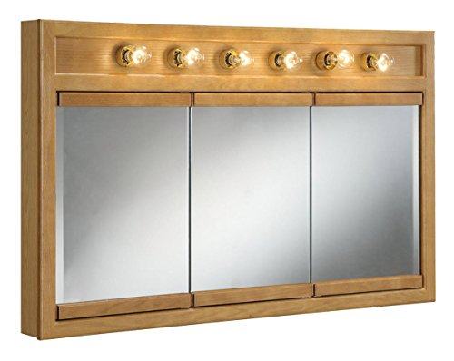 Design House 530626 48-Inch by 30-Inch Richland Ready-To-Assemble 6 Light Tri-View Wall Cabinet, Nutmeg Oak ()