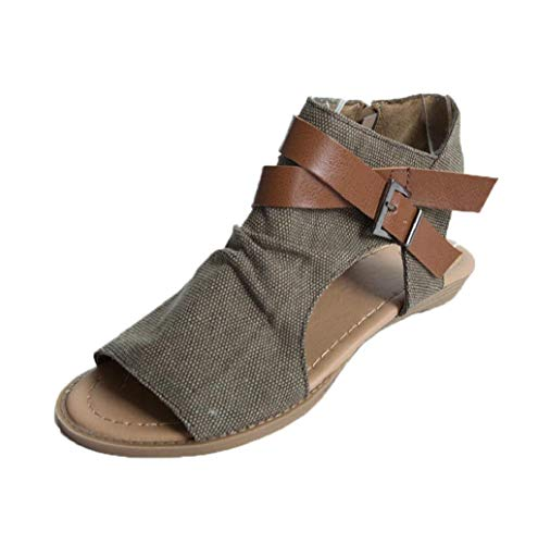 Summer Vintage Women Open Toe Flat Sandals Ankle Strap Buckle Canvas Sandals Bohemia Beach Shoes Fish Mouth Shoes JHKUNO Coffee