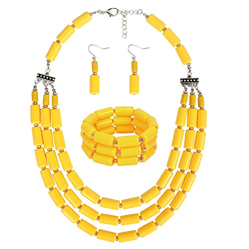 KOSMOS-LI Beaded Jewelry Sets Acrylic Yellow Beads Statement Necklace Bracelet Earring Set (Bead Necklace Earring Set)