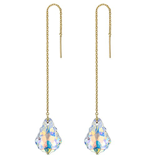 - FANZE Women's 925 Sterling Silver Long Baroque Drop Threader Slide Earrings Made with Swarovski Crystal Gold-Tone Clear AB
