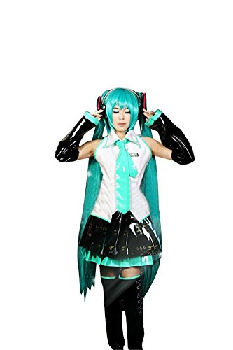 Mtxc Women's Vocaloid Cosplay Costume Hatsune Miku Dress Leather Ver. Size X-Large -