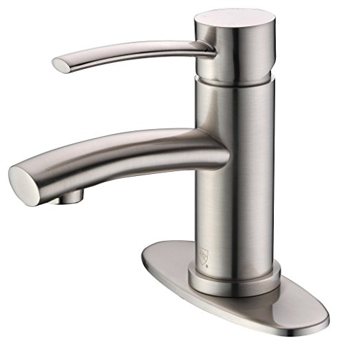 Purelux Bellona Contemporary Design One Handle Bathroom Sink Faucet with Deck Plate, Brushed Nickel