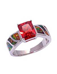 GOMORINGS Orange Fire Opal Orange Garnet Silver Ring Gift Jewelry Ring