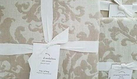 Pottery Barn JACQUARD MEDALLION Duvet Cover Full//Queen ~Ivory//Flax//Neutral~